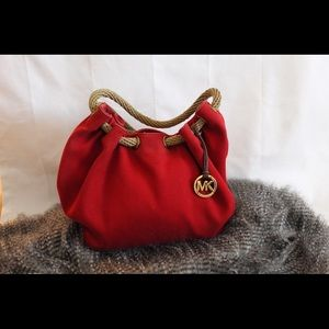 MK large marina red canvas tote